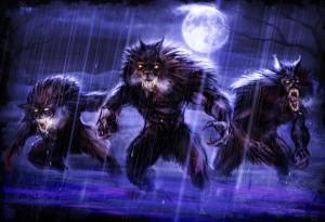 Arcanjo Lycan Lobisomens Lupinos Noite Lua Cheia Chuva Tempestade